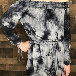 Black tie-dye romper with shorts and long sleeves