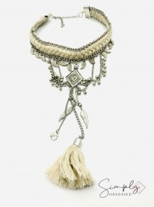 Braided and threaded detailed choker necklace with hanging fringe tassel and leaves