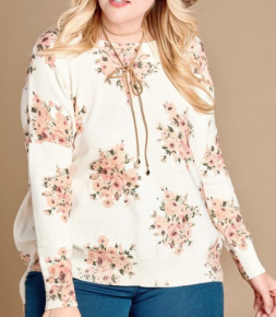 cream floral print hi-low hemmed long sleeve sweater