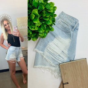 Light denim high-rise shorts with