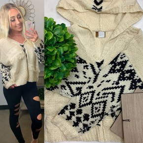POL - Urban boho inspired open weave hoodie sweater with contrast color design