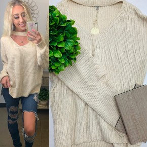 Cream velvet knit sweater top with wide v-neck choker neckline and long sleeves with elbow cutout