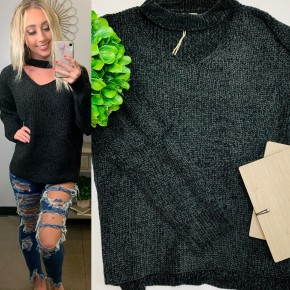 Black velvet knit sweater wide v-neck with choker neckline and long sleeves with elbow cutouts