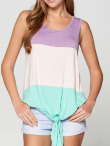 Sleeveless knit top featuring trendy color blocks and front self tie knot details