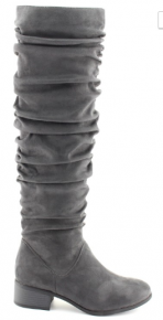 Grey knee high boots with ruffle detail