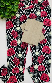 Rush apparel- Chevron floral skull