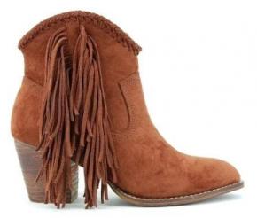 camel fringe western booties