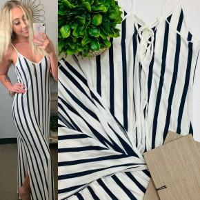 HYFVE- Sleeveless striped maxi dress with side slits