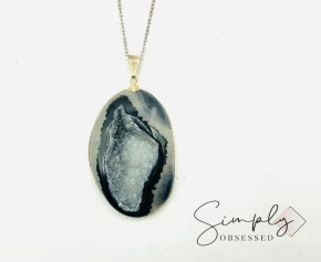 "XXL BLACK DRUZY PENDANT ON 28"" STERLING SILVER CHAIN"
