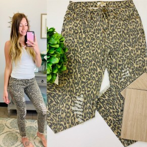 Brown cheetah animal print distressed skinny jeans
