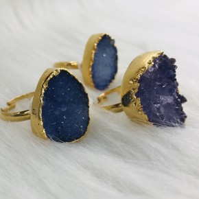 DENIM, PURPLE AND LILAC DRUZY ADJUSTABLE RINGS IN GOLD