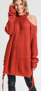 Brick solid cold shoulder sweater top with halter neck and long sleeves