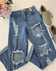 Vibrant- Denim distressed skinny jeans with rolled hem