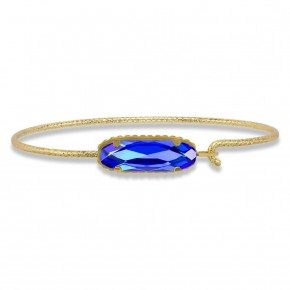 Sterling Silver Willow Bangle Bracelet In Majestic Blue in Gold or Silver