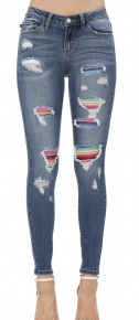 Serape patch skinny high waist