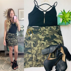 Camouflage button down cargo style skirt