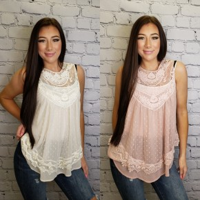 Andree by Unit - Swiss dot top with crochet detail