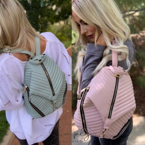 Bag Boutique- Chevron quilted multi-pocket backpack with faux leather