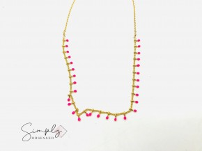 Charlene K-Fuchsia enamel beaded short necklace