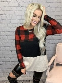 Honeyme-Long sleeve color block with plaid top