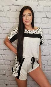 Vanilla Bay- Knit shorts with elastic waistband and cheetah print side paneled