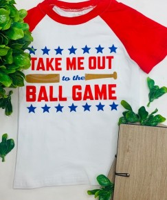 """Crew neck short sleeve """"take me out ball game"""" top (kids)"""