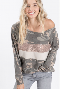 Camo Pull Over Top with Sequins