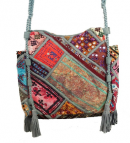 Grey banjara mirror vintage bag with tassel
