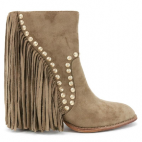 Taupe suede fringe booties with gold studs
