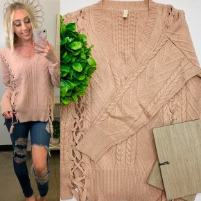 Mauve color v-neck knitted sweater w/lace up detail