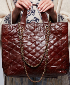 brown leather handbag with chain shoulder strap