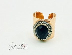 Rose Gold Plated Cigar Ring W/ Black Onyx Stone