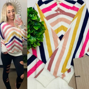 Trend Notes - Soft fuzzy multi stripe v neck dolman sweater