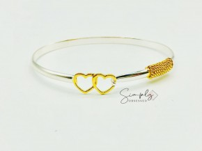 Silver And Gold Heart Bracelet