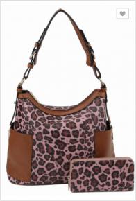 Le Miel - Leopard color block side zip pocket 2 in 1 shoulder bag