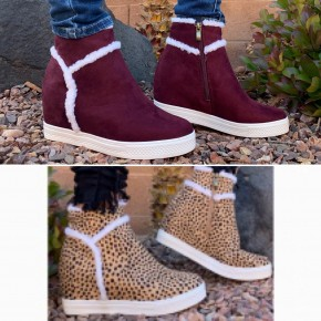 CCOCCI- Maroon wedge shoes with fleece trimming