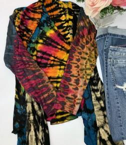 KATHMANDU- (MYSTERY COLOR AND DYE PRINT) Long sleeve tie dye cardigan