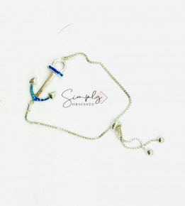 Sterling Silver Synthetic Opal Anchor Bracelet with Lobster Lock