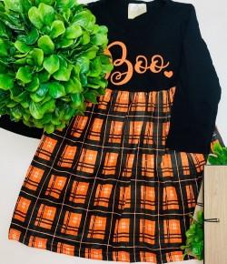 Halloween orange/black boo dress for girls (kids)