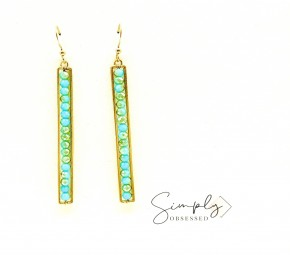 Mint Beaded Gold Bar Hook Earrings