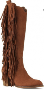 Western cognac tall boots with side tassel