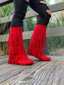 LUV Fashion- Tall suede fringe moccasin boots