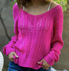 Cable knit twist front or back sweater