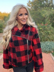 Vanilla Bay- Plaid long sleeve zip-front sherpa jacket with collar