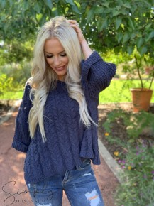 POL-  Oversized cable knit pullover sweater with wide crew neck