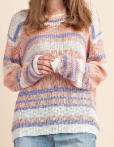 Peach combo long sleeve stripe knit sweater top