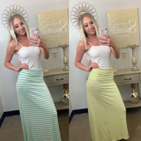 Striped long maxi skirt