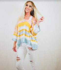 Lightweight colorful striped boxy fit sweater featuring vertical zig-zag weave low V neck with wide sleeve
