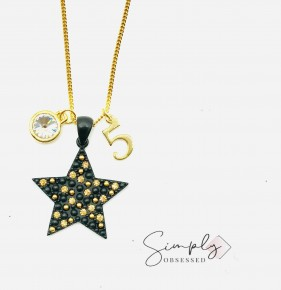 Black Star with Gold Pave and Gem with Gold #5
