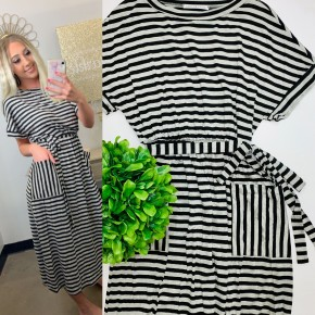 Knit striped dress with pockets and a self tie waist